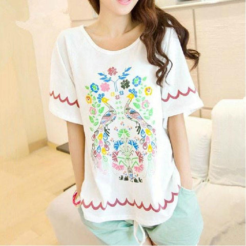 Unique Peacock Floral Printed loose T-shirt