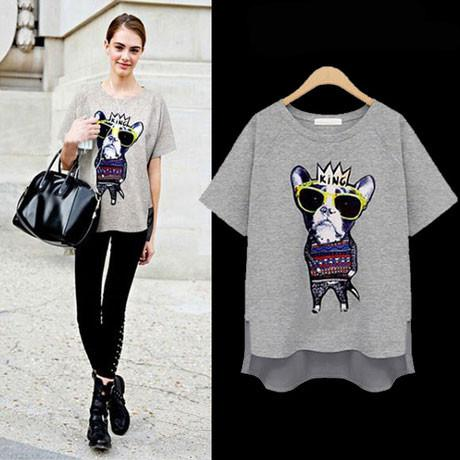 New Irregular Tree-dimensional Crown Dog Loose T-shirt - wikoco.com
