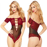 Sexy Hollow Deep V Temptation Perspective Conjoined Lace Coveralls Intimate Lingerie