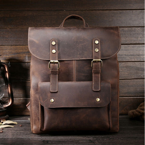 Retro Leisure Handmade Real Leather Double Buckle British Style Large School Backpack