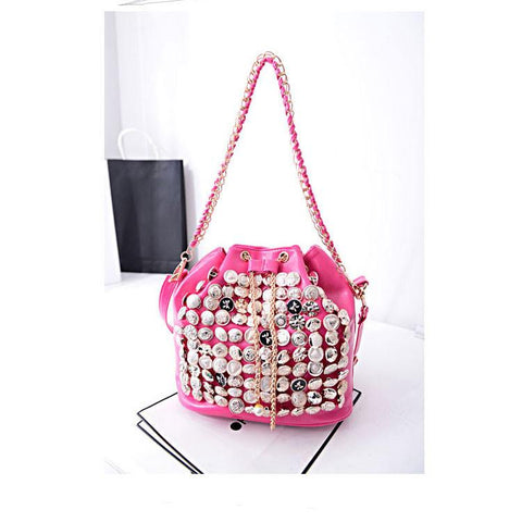 Shiny Shiny Buttons Pearl Chain Shoulder Bag