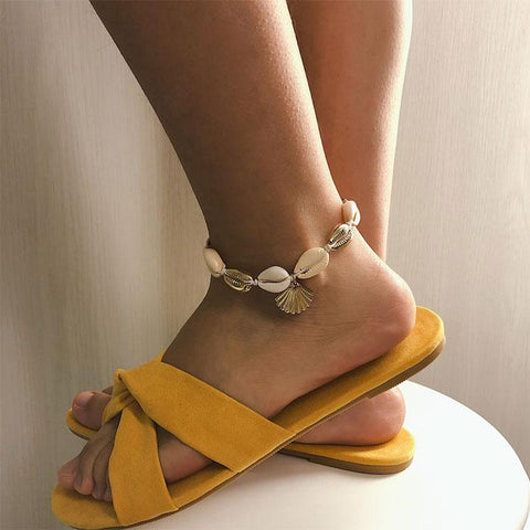 Cute Beach Footwear Ethnic Shell Alloy Handmade Woven Scallop Anklet - wikoco