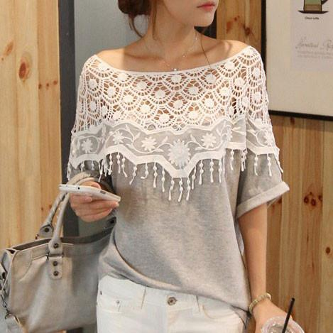 Pretty  Lace Fringed Bat Sleeve Blouse T-shirt - wikoco.com