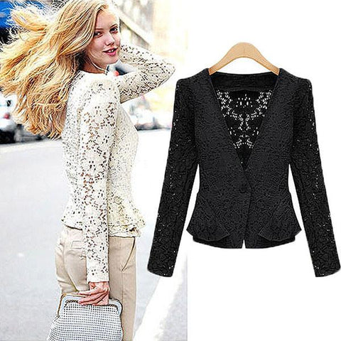 Pretty Hollow Lace Short Falbala Coats Jackets - wikoco.com