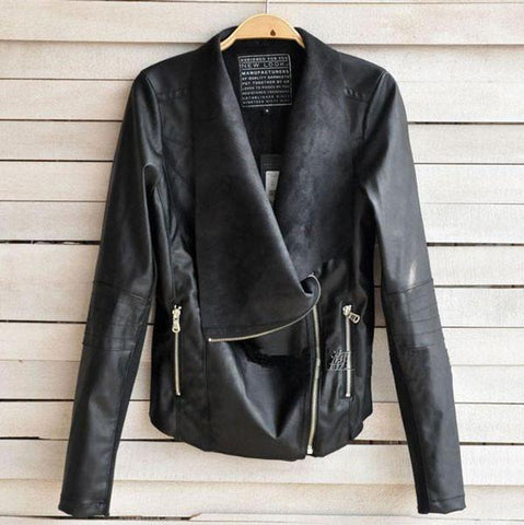 Punk Fashion Zipper Lapel Leather Jackets - wikoco.com