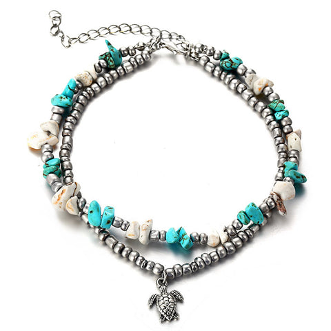 Leisure Conch Starfish Yoga Beach Tortoise Elephant Pendant Double Anklet Bracelet Foot Accessory Anklet