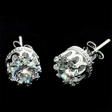 Pure Silver Transparent Crown Studs - wikoco.com