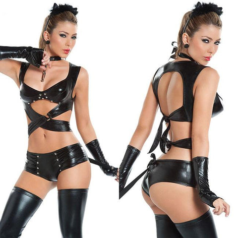 Sexy Cosplay SM Cat Costumes Night Club Patent Leather Women Lingerie - wikoco