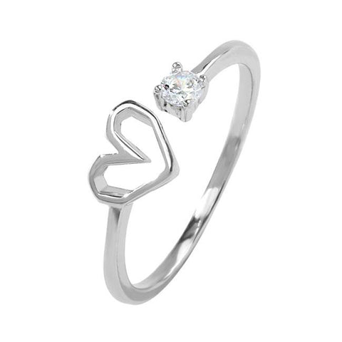Romantic Love Heart Silver Crystal Cute Cat Girl Open Ring - wikoco