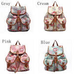 Floral Canvas Schoolbag Backpack Travel Backpack
