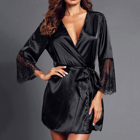 Sexy Middle Sleeve Nightdress Pajamas Lace Night Gown Women Lingerie