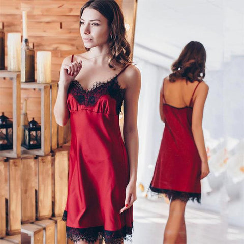 Sexy Sling Deep V Pajamas Women Intimate Lingerie Red Lace Nightdress