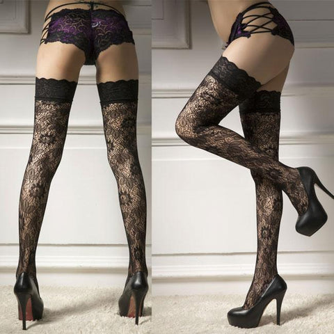 Sexy Hollow Flowers Lace Side High Socks Lingerie Jacquard Black Stockings