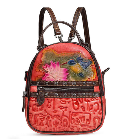 Retro Original Rivet 3D Flower Bird Oracle Print Lotus Leaf Vintage Student Backpack