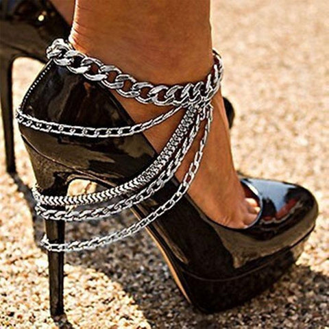 New Tassel Anklet Alloy Footwear Street Punk Style Multi-layer Feet Accessory Anklet - wikoco
