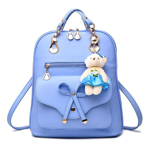 Fashion Multifunction Pu Bow School Rucksack Casual Bow-knot Shoulder Bag College Backpack