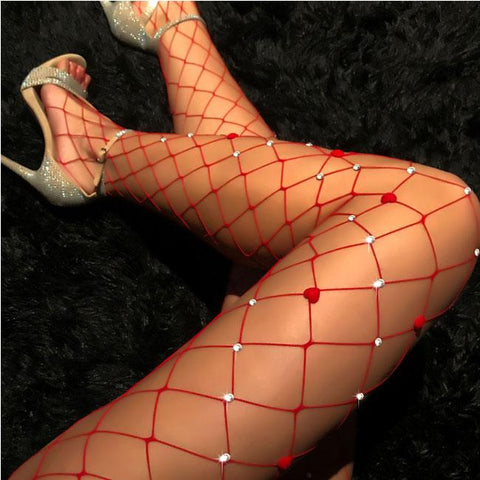 Sexy Hollow Grid Leggings  Fishing Net Diamond Lingerie Stockings - wikoco