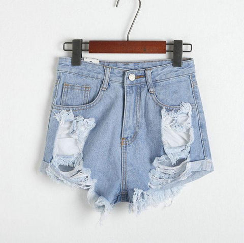 Summer Hole High Waist Denim Shorts  Dark Blue Pants Jeans Plus Size Wonmen Shorts