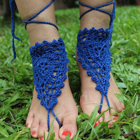 Handmade Barefoot Sandal Knitted Flower Foot Jewelry Beach Anklet Foot Chain - wikoco.com