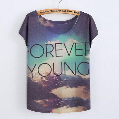 Forever Young Printed Cotton T-Shirt - wikoco.com