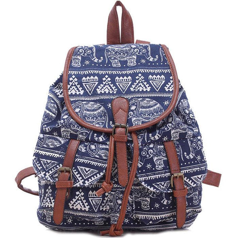 Leisure Elephant School Rucksack For Girl Totem College Canvas Backpack - wikoco.com