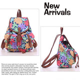Elephant Floral Printing National PU Belt Two Pockets School Canvas Backpack