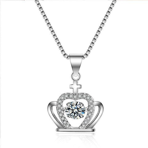 Unique Crown Diamond Women's Crown Cross Silver Crystal Necklace - wikoco