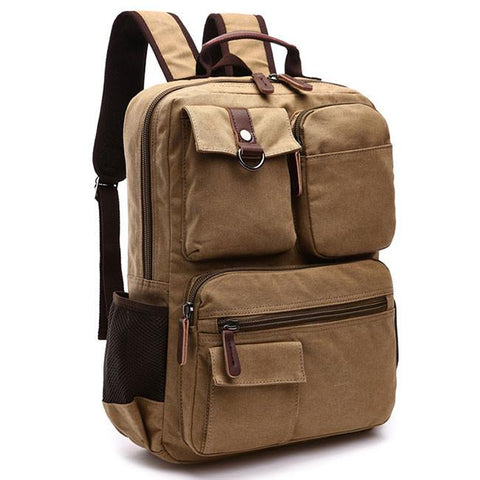 Vintage Multi-pocketed Outdoor Travel Backpack Brown Large Capacity School Canvas Laptop Backpack