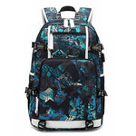 Cool USB Interface Waterproof Oxford Boy Sport Backpack Complex Pattern High School Bag - wikoco