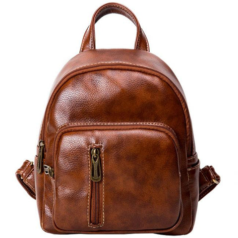 Retro Brown Vertical Zipper Simple Leisure Lady Bag Student Backpack