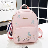 Cute Butterfly Flower PU College Bag Student Bag School Backpack