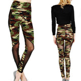 Girl's Mesh See Through Camouflage Splicing Ninth Skinny Legging