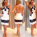 Sexy Women's Splicing Black Lace Backless Tight-fitting Sleeveless Skirt Dress