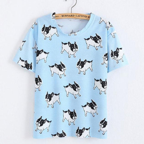 Shar Pei Animals Printed Cartoon T-Shirt In Blue
