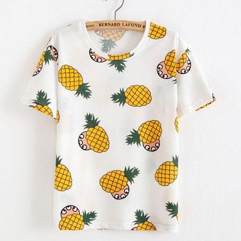 Pineapple Printed Fruit Cotton T-Shirt - wikoco.com