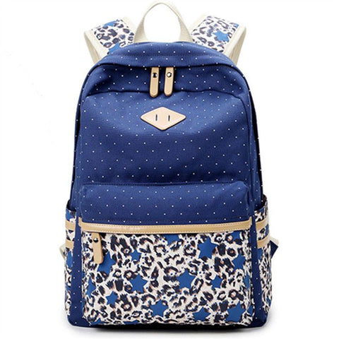 Leopard Stitching Wave Point Printed Canvas Casual Backpack