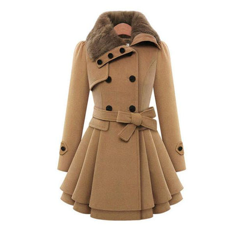 Double Breasted Thicker Coat Windbreaker Winter Dress Women Coat