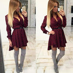 New Wave Point Shirt Dress Checkered Shirt Dress Long-sleeved Swallowtail Dress