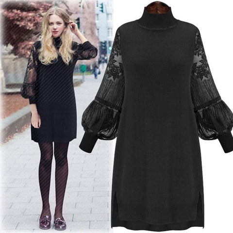 Unique Large Size Lace Dress High Collar Stitching Bishop Sleeved Backing Skirt