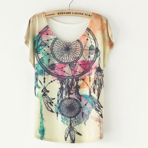 Fashion Dream Catcher Printed T-Shirt - wikoco.com