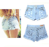 Summer Sexy Women High Waist Ripped Hole Rivet Wash Denim Jeans Shorts Pants