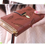 Fresh Leaves Hollowed-out Rectangle Purse Card Bag Women  PU Wallet Clutch Bag