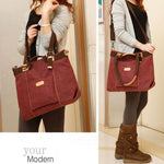 Retro Large Capacity Saddle Bag Shoulder Bag Canvas Girl's Multi-function Handbag