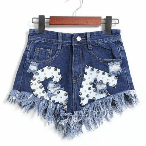 New Letters Printed Ragged Edges Rivet High Waist Denim Shorts Jeans Wonmen Shorts - wikoco.com