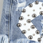 New Letters Printed Ragged Edges Rivet High Waist Denim Shorts Jeans Wonmen Shorts-Light blue - wikoco.com
