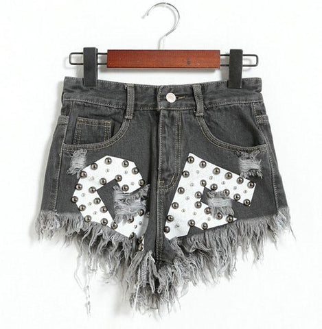 New Letters Printed Ragged Edges Rivet High Waist Denim Shorts Jeans Wonmen Shorts-Black - wikoco.com