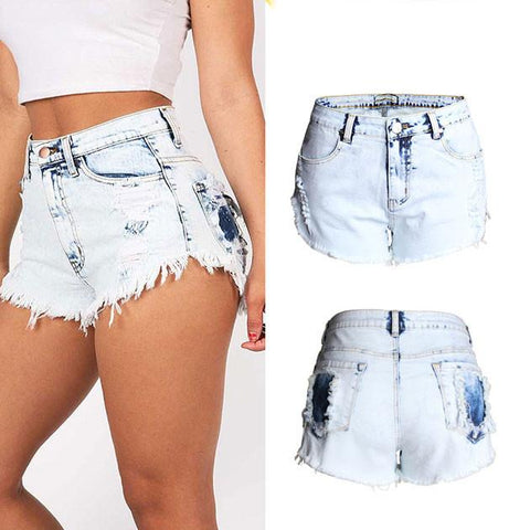 New High Waist Hole Jeans Washed Flash Denim Shorts Plus Size Wonmen Shorts - wikoco.com