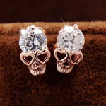 Punk Rose Gold Skull Personalized Alloy Diamond Earrings Studs