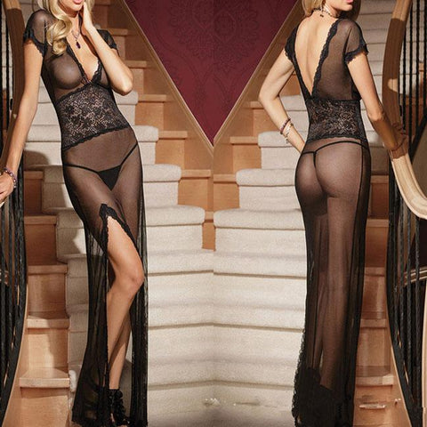 Sexy Women's Deep-V See Though Long-style Mesh Pajamas High Slit Long Dress Lingerie