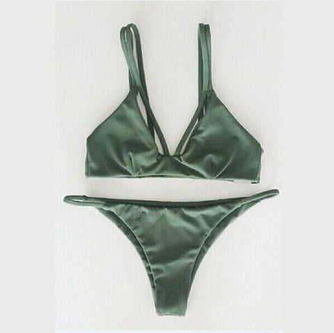 Dark Green and Weave Bikini Sexy Bandage Halter Swimsuit - wikoco.com